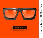 vector glasses orange background - stock vector