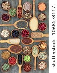 healthy food concept with... | Shutterstock . vector #1068578117