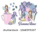 flower clipart summertime color ... | Shutterstock .eps vector #1068595337