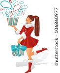 the girl is holding a gift.... | Shutterstock .eps vector #106860977