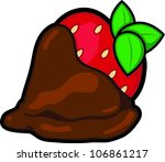 Chocolate covered strawberry - stock vectorCartoon Chocolate Covered Strawberry