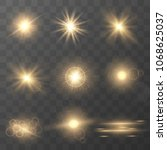 set of golden glowing lights... | Shutterstock .eps vector #1068625037