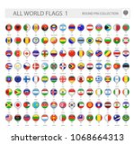 round pin icons of all world... | Shutterstock .eps vector #1068664313