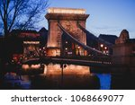 night view of a famous budapest ... | Shutterstock . vector #1068669077