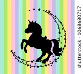 vector card with cute unicorn.... | Shutterstock .eps vector #1068680717