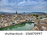 overhead view of zurich switzerland, hdr image - stock photo