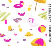 summer seamless pattern. vector ... | Shutterstock .eps vector #1068755513