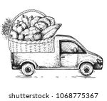 delivery truck hand drawn... | Shutterstock .eps vector #1068775367