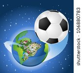 earth globe with a soccer ball... | Shutterstock .eps vector #106880783
