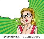 vector retro illustration  pop... | Shutterstock .eps vector #1068822497