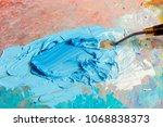 oil deep blue colors with knife ... | Shutterstock . vector #1068838373