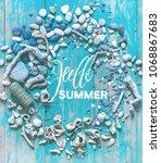 shells  rapans  pebbles  on... | Shutterstock . vector #1068867683