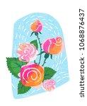 rose abstract bouquet. hand... | Shutterstock . vector #1068876437