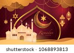 ramadan kareem greeting card ...   Shutterstock .eps vector #1068893813