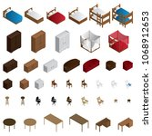isometric furniture icon set.... | Shutterstock .eps vector #1068912653