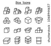 boxes icon set in thin line... | Shutterstock .eps vector #1068944657