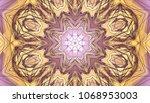 gold and pink kaleidoscope... | Shutterstock . vector #1068953003