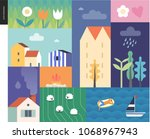 idillic summer landscape  ...   Shutterstock .eps vector #1068967943