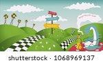 wonderland fantastic landscape... | Shutterstock .eps vector #1068969137