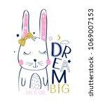 hand drawing sweet bunny vector. | Shutterstock .eps vector #1069007153