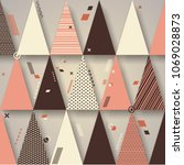 retro triangles background  use ... | Shutterstock .eps vector #1069028873