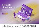 cloud data storage  remote data ... | Shutterstock .eps vector #1069038023