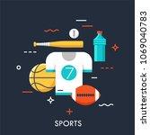 sports equipment for player ... | Shutterstock .eps vector #1069040783