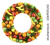 letter   o made of fruits.... | Shutterstock . vector #106905143