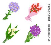 bouquets flowers set isolated... | Shutterstock .eps vector #1069064363