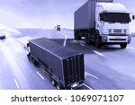 truck on highway road with...   Shutterstock . vector #1069071107