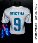 Small photo of MADRID - APRIL 14, 2018: Karim Benzema 9 France, Actual shirt of season 2017-2018, Museum of Real Madrid soccer team, Santiago Bernabeu Stadium