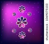 vector illustration  flowers ... | Shutterstock .eps vector #1069075103