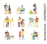 man and woman artists in art... | Shutterstock .eps vector #1069086227