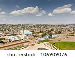Aerial view of the city of Addis Ababa, showing the densely packed houses - stock photo