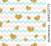 gold heart seamless pattern.... | Shutterstock .eps vector #1069122773