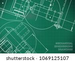 mechanical engineering drawing. ... | Shutterstock .eps vector #1069125107