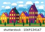 suburban landscape  the house... | Shutterstock .eps vector #1069134167