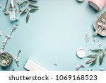 beauty background with facial... | Shutterstock . vector #1069168523