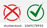 acceptance and rejection symbol ... | Shutterstock . vector #1069178933