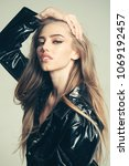 girl with long hair wears black ... | Shutterstock . vector #1069192457