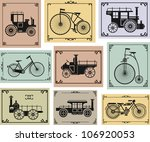 Vector Set Of Old Bikes And...
