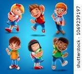 set kids for school banner | Shutterstock .eps vector #1069239197