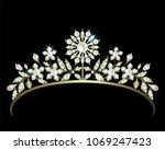gold diadem with diamonds and... | Shutterstock . vector #1069247423