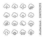 vector image set of cloud... | Shutterstock .eps vector #1069254293