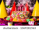 birthday cake with rainbow... | Shutterstock . vector #1069281563