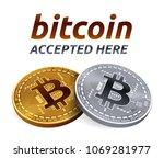 bitcoin accepted sign emblem.... | Shutterstock .eps vector #1069281977