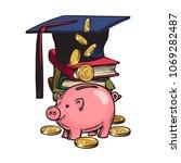 cartoon piggy bank with... | Shutterstock .eps vector #1069282487