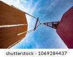 jumbo crane in carry lifting... | Shutterstock . vector #1069284437