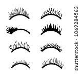 vector eyelashes set .open eyes ... | Shutterstock .eps vector #1069284563