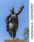 Small photo of BELGRADE, SERBIA - APRIL, 2018: Statue of military commander Vojin Popovic known as Vojvoda Vuk in Belgrade, Serbia